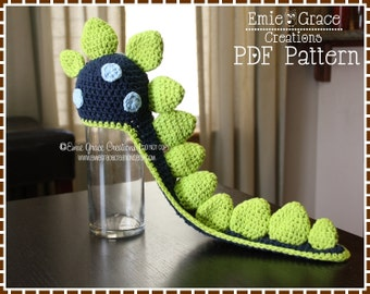 Crochet Dinosaur Hat Pattern, Spiked Beanie Cape, LONG TAIL DINO - pdf 136