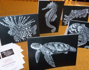 Ocean Life Stationery Cards: 5 Cards and 5 Envelopes