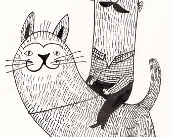 Prince on a white cat - INK  ILLUSTRATION / ink drawing  - Mustache man - cats drawing