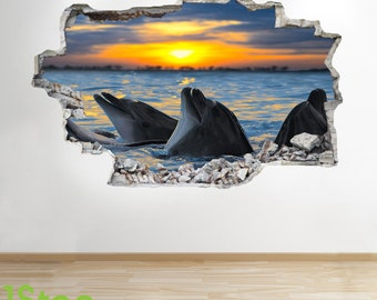Dolphin Sunset Wall Sticker 3d Look - Ocean Sea Paradie Bedroom Lounge Z594