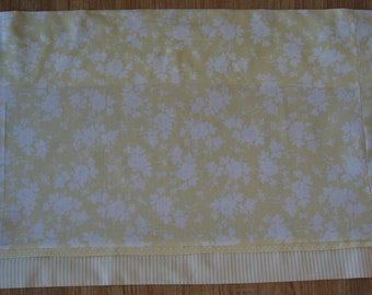 """Yellow White Floral Toile Valance 17"""" x 81""""  Can Alter Curtain Window Treatment"""