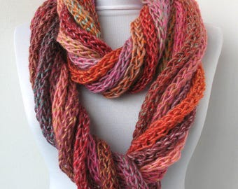 Scarf necklace, Loop scarf, Infinity scarf, Neck warmer, Hand knitted scarf,  in orange,rose,pink,gray,blue E043