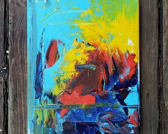 Abstract Original 8x10 Acrylic Painting on Canvas Blue Colorful