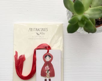 Gift tag set, red riding hood gift tag, girl gift tag, fairytale gift tag, illustration gift tag, watercolor gift tag