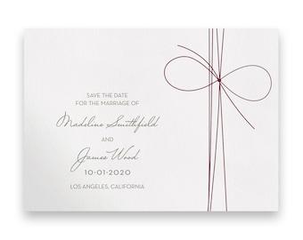 Bow Wedding Save the Date/Wedding STD/Wedding Save The Dates/Save-The-Date/Bow/Simple/Classic/Romantic/Luxury/Twine/Bow Tie/Marsala