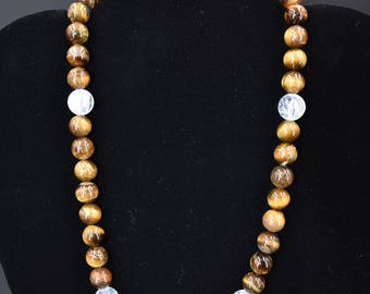10mm Tigers Eye Quartz Necklace 18inch (Stainless Steel)