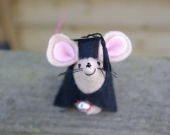 Graduation mouse, Felt mouse, Gift, University mouse, College,