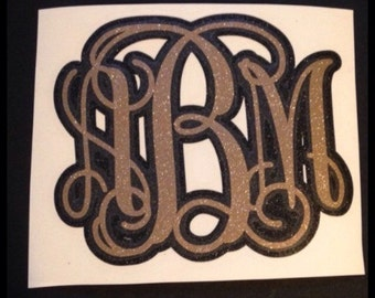 Monograms!!! Layered with 2 colors Yeti, Car decal, Cell phone decal