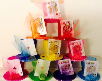 """Alice in Wonderland Decorations - Set of 10 Mad Hatter Tea Party Felt Top Hats with Playing Cards, Onederland Birthday, Shower (3.5"""" Tall)"""