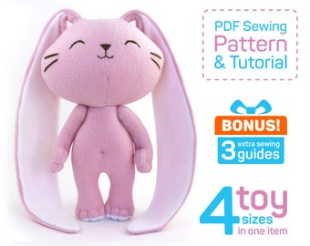 Cute Bunny sewing pattern PDF | Stuffed rabbit pattern | Bunny doll pattern | Plush rabbit sewing pattern | Rabbit patterns