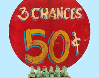 3 Chances 50 Cents Carnival Game Wall Decal - #67052