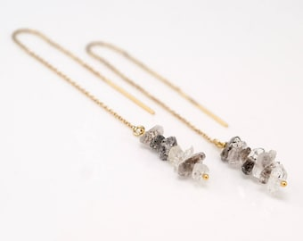Raw Diamond Earrings - Rough Herkimer Diamond Earrings - Long Gold Dangle Earring - Ear Thread Earrings  - April Birthstone Earrings
