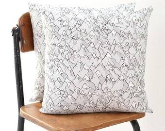 "Forever Mountains Linen-Cotton Pillow Cover | Original Fabric | 16 x 16"""