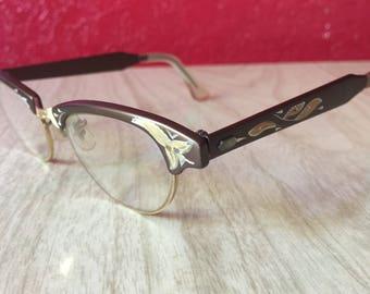 Vintage 1950s Glasses, Eyeglasses ~ Gorgeous Brown & Gold