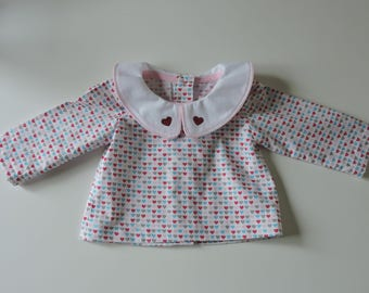 Blouse, cotton Peter Pan collar shirt