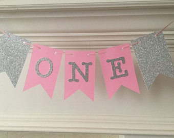 Silver and Pink ONE Banner- First Birthday