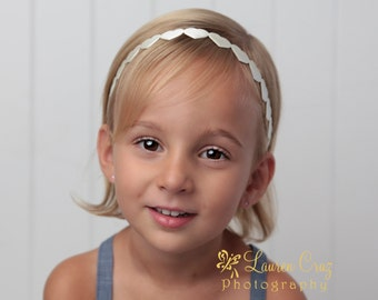 Ivory Satin Hearts Headband, perfect for Newborn Photos, babybheadband, newborn gift by Lil Miss Sweet Pea