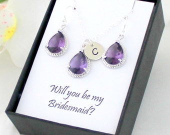 Amethyst Purple Necklace and Earrings Set / Bridesmaid Jewelry Set / Amethyst Purple Bridesmaid Set / Mothers Day Gift For Mom