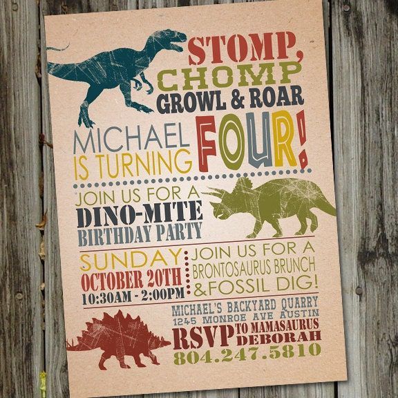 Dinosaur birthday invitations dinosaur birthday invitation zoom solutioingenieria Gallery