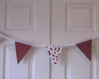 2.5 metres red and white cherries and polka dot handmade bunting