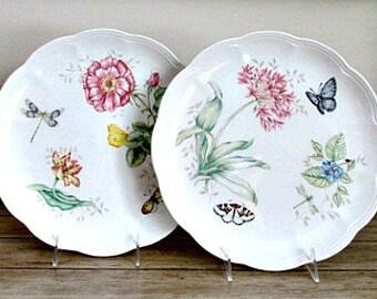 2 Lenox Butterfly Meadow Vintage Dinner Plates - Butterfly Meadow Dragonfly Plate - Butterfly Meadow Butterfly Plate
