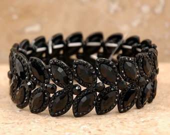 Crystal stretch bracelet handmade Bridal Evening Bling