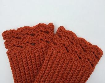 Crochet Lace Boot Cuffs, Crochet Boot Socks, Crochet Boot Cuffs, Boot Cuffs, Orange or Green Crochet Boot Cuffs, Womens Boot Cuffs
