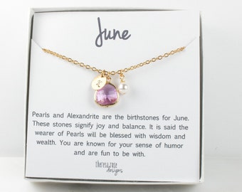 Personalized June Birthstone Light Amethyst Gold Necklace, Light Amethyst Necklace, June Birthday Jewelry, Personalized Gold Necklace #877