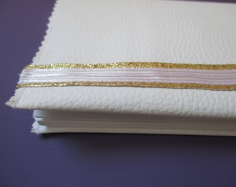 checkbook in imitation White leather and White Gold Ribbon, mothers day gift