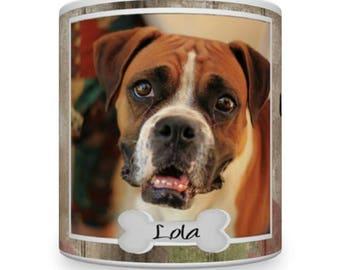 Personalised Boxer Dog Mug. Boxer Dog on a Mug. Personalised Pet Photo Mug. Personalised Boxer Dog On A Mug. Boxer Dog Gift.