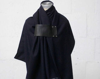Navy Blue Wool Scarf, Accessories, Leather Scarf, Women's Large Scarves