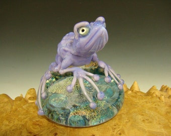 Dichroic Glass Art Frog Paperweight by Mazet Lampwork sculpture VGW (ready to ship)