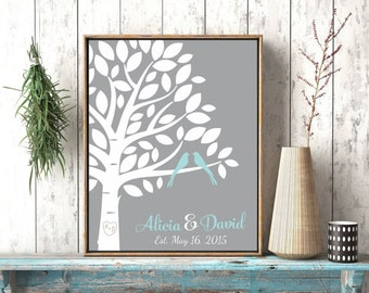 Family Tree Wall Art, Personalized Love Bird Tree, Carved Tree Initials, Wedding Gift For Couple, Est Art, Groom Gift For Special Couple