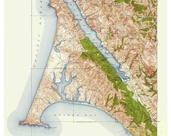Point Reyes 1916 Old Topo Map - 1957 Printing - An edited reprint of the original quad - USGS Topographic California