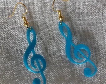 Treble clef blue turquoise earrings