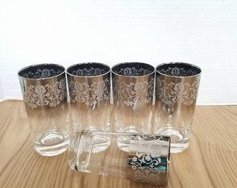 Thorpe Platinum Ombre Highball Glass, Set of 5, Vitreon Queens Lusterware, Vintage Barware, Highball, Mad Men, Silver, Silver Barware, 1960s