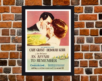 Framed An Affair to Remember Cary Grant & Deborah Kerr Romantic Movie / Film Poster A3 Size Mounted In Black Or White Frame