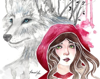 Fantasy fairytale watercolor drawing/PRINT - Little Red Riding Hood + Big Bad Wolf