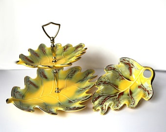 Vintage California Pottery Yellow Autumn Fall Leaf Two-Tier Tidbit Serving Tray #803 and Matching Bowl/Dish Server #809