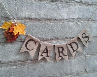 CARDS Mini Burlap Banner – Fall themed Rustic wedding banner, wedding sign.