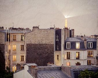 Paris Photography - City of Light - Eiffel Tower Photo - Paris at Night - Paris Apartments - French Photography - France, Vintage, Rustic