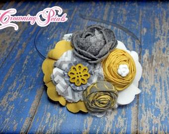 Mustard Yellow, Grey, Gray Fabric Flower Headband, Hair Accessories, Baby Girl Headband, Newborn Hair Bow, Infant, Flower Hair Clip, Brooch
