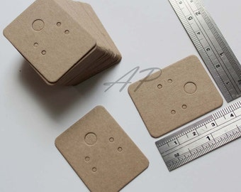 "50 pcs of Small Blank Earrings Card in Brown Kraft Paper for Accessories Jewelry(1 3/16"" X 1 1/2"")"