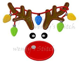 Christmas reindeer ornament lights applique machine embroidery design