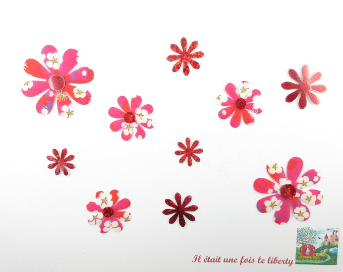 Applied 10 seconds fabric flowers liberty Mitsi flex fusible holographic patterns liberty flower appliques patches