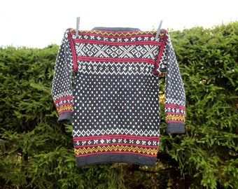 Boys wool sweater hand knitted Handmade pure wool vintage sweater Vintage woolen sweaters for boys Woolen boys sweater