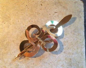 Goldtone Swirling Hair Barrette