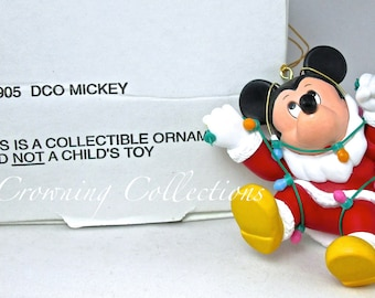 Grolier Mickey Mouse Disney Ornament DCO 001905 Wrapped in Lights as Santa Claus fake Beard