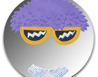 REDUCED PRICE -- Hand painted mirror - Crazy Wig and Lightning Glasses