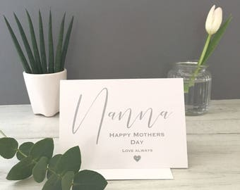 Nanna's Mothers Day Card, Mothers Day, Card for Nanna, Nan Card, Card for Nanna, Happy Mothers Day Card, Mothers Day Card, Nanna, Cards